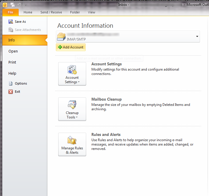 Outlook imap step 2