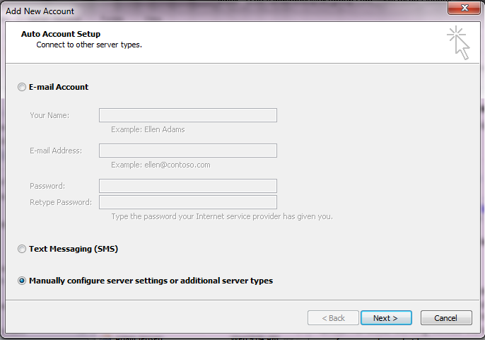 Outlook imap step 3